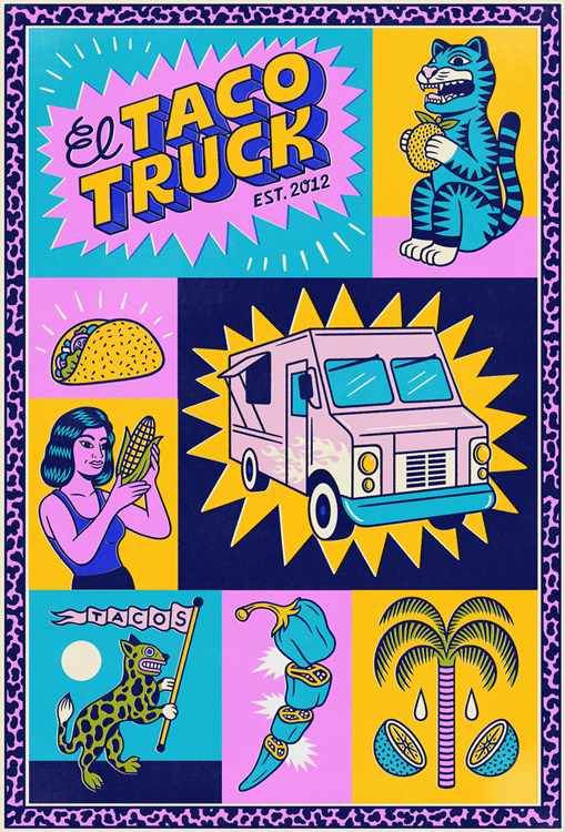 woman with a corncob, taco, truck