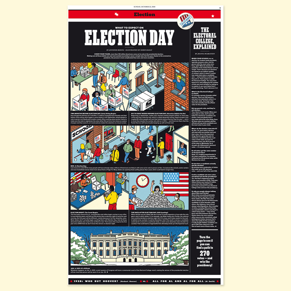comic with voters and their way to the election for the president of the USA