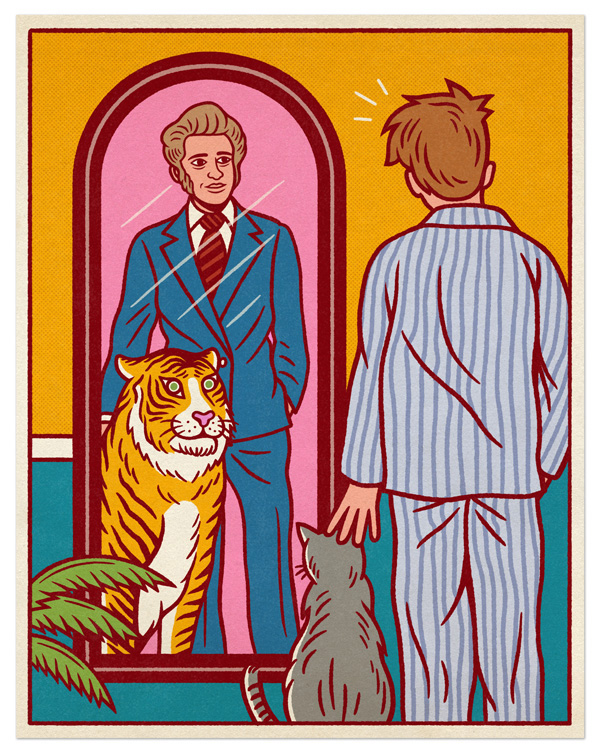 man in pyjama with a cat in front of a mirror with a reflection of a man in suit with a tiger