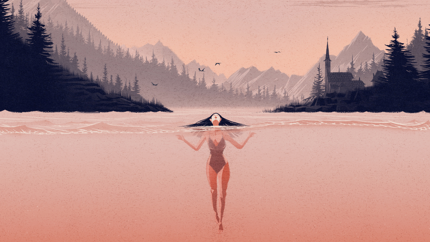 woman in lake